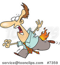 Cartoon Business Man Running with His Pants on Fire by Ron Leishman