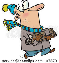 Cartoon Winter Guy Carrying Firewood by Toonaday