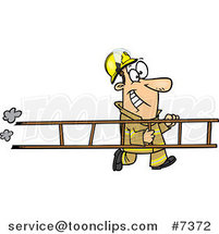 Cartoon Fire Fighter Carrying a Ladder by Ron Leishman