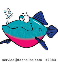 Cartoon Happy Fish by Ron Leishman