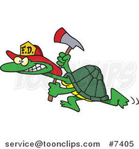 Cartoon Fire Fighter Tortoise Carrying an Axe by Ron Leishman