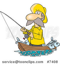 Cartoon Fisher Man Standing in His Boat by Ron Leishman
