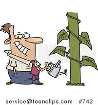 Happy Cartoon Business Man Watering a Monstrous Plant Showing Business Growth by Toonaday