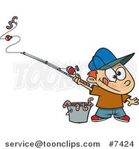 Cartoon Fishing Boy with a Bucket of Worms by Ron Leishman
