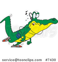 Cartoon Gator Walking and Listening to Music by Ron Leishman