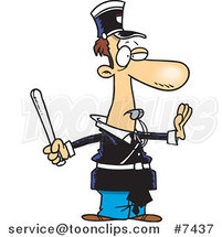 Cartoon Officer Gesturing to Stop and Whistling by Toonaday