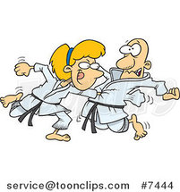 Cartoon Karate Lady Punching Her Fist Through a Guy's Chest by Ron Leishman