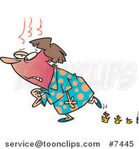 Cartoon Lady Experiencing Hot Flashes and Leaving Flame Steps by Ron Leishman