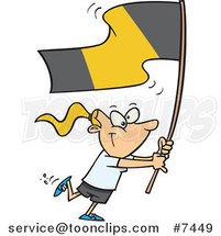 Cartoon Flag Bearer Girl Walking by Ron Leishman
