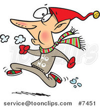 Cartoon Fit Elf Running by Ron Leishman