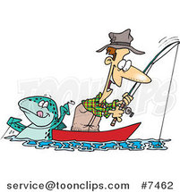 Cartoon Fish Tugging on a Guy's Line by Ron Leishman