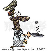 Cartoon Guy Holding a Smoking Frying Pan by Ron Leishman