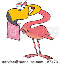 Cartoon Flamingo Holding a Flamingos Rule Sign by Ron Leishman