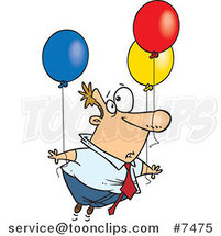 Cartoon Business Man Floating Away with Balloons by Ron Leishman