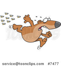 Cartoon Bear Fleeing from Bees by Ron Leishman