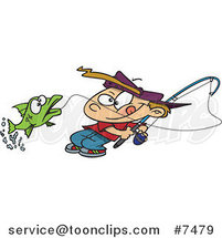 Cartoon Fishing Boy Reeling in a Fish by Toonaday