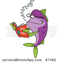 Cartoon Fish Reading a Story Book by Ron Leishman