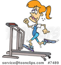 Cartoon Sweaty Lady Running on a Treadmill by Ron Leishman