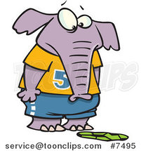 Cartoon Elephant Staring at a Flattened Soccer Ball by Ron Leishman