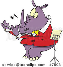 Cartoon Flautist Rhino by Ron Leishman