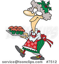Cartoon Mrs Claus Baking Cupcakes by Toonaday