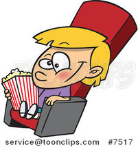 Cartoon Girl with Movie Popcorn by Toonaday