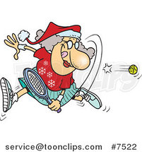 Cartoon Mrs Claus Playing Tennis by Toonaday