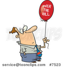 Cartoon Guy Holding an over the Hill Balloon by Ron Leishman