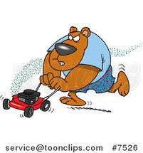 Cartoon Bear Mowing His Lawn by Ron Leishman