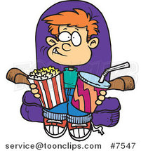 Cartoon Boy with Movie Snacks by Toonaday