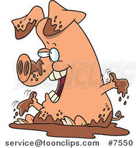 Cartoon Pig Playing in Mud by Ron Leishman
