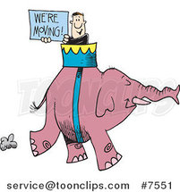 Cartoon Guy Carrying a We're Moving Sign on an Elephant by Toonaday