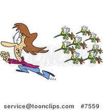 Cartoon Lady Running from a Swarm of Mosquitoes by Ron Leishman