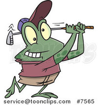 Cartoon Frog Golfing by Ron Leishman