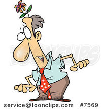 Cartoon Business Man with a Flower Head by Toonaday