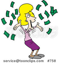 Cartoon Happy Blond Business Woman with Falling Cash by Toonaday