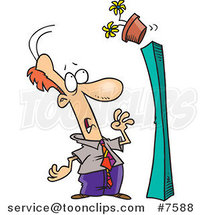 Cartoon Flower Pot Falling over onto a Business Man by Toonaday