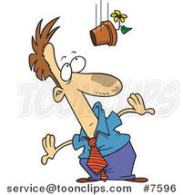 Cartoon Flower Pot Falling on a Business Man by Toonaday