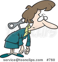 Cartoon Exhausted White Wind up Business Woman by Ron Leishman