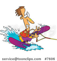 Cartoon Clumsy Guy Water Skiing by Toonaday