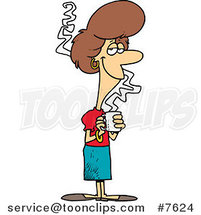 Cartoon Pleasant Business Woman Holding Coffee by Ron Leishman