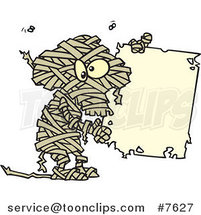Cartoon Creepy Mummy Holding a Blank Sign by Ron Leishman