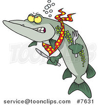 Cartoon Hungry Muskie Fish by Ron Leishman