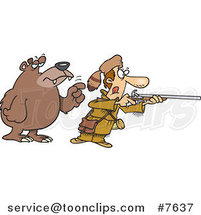 Cartoon Bear Tapping a Hunter on the Shoulder by Toonaday