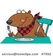 Cartoon Hungry Muskrat at a Table by Ron Leishman