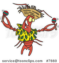 Cartoon Lobster Shaking Maracas by Ron Leishman