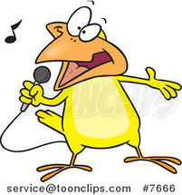 Cartoon Singing Canary by Ron Leishman