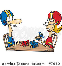 Cartoon Husband and Wife Playing Table Football by Toonaday