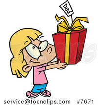 Cartoon Cute Girl Holding a Fathers Day Gift by Ron Leishman