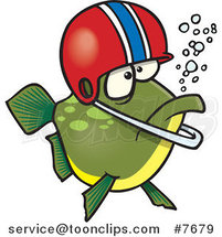 Cartoon Football Fish Wearing a Helmet by Toonaday